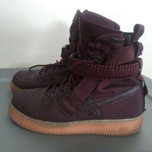 Nike SF Air Force 1 High Deep Burgundy Gum Boots
